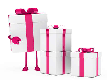 christmas pink white gift box figure point  photo