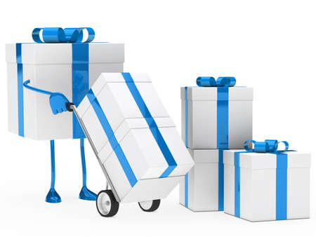 shove: blue christmas gift box hold hand truck Stock Photo