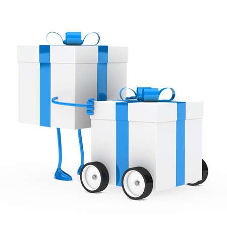 christmas blue figure push gift box vehicle photo