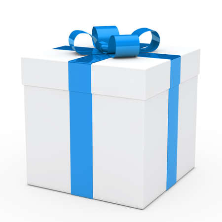 blue box: christmas white gift box with blue ribbon