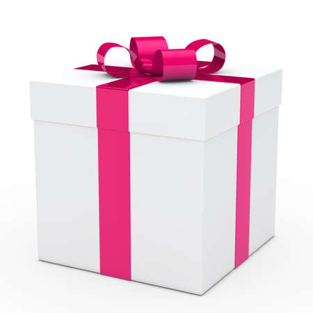 giving gift: christmas white gift box with pink ribbon