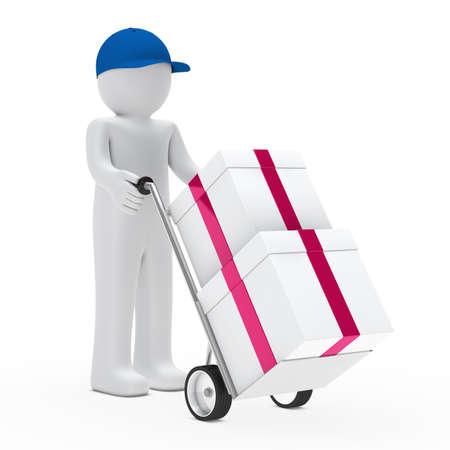 figure supplier push hand truck with gifts photo