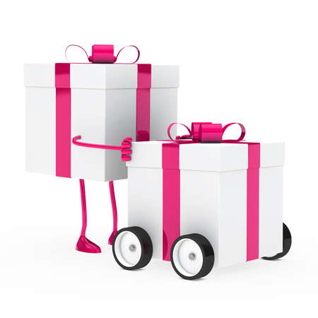 christmas pink figure push gift box vehicle photo