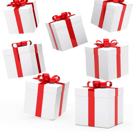 christmas gift boxes red white falling down Stock Photo - 13926376