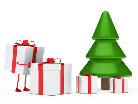 under tree: christmas figure red with push gift box  Stock Photo