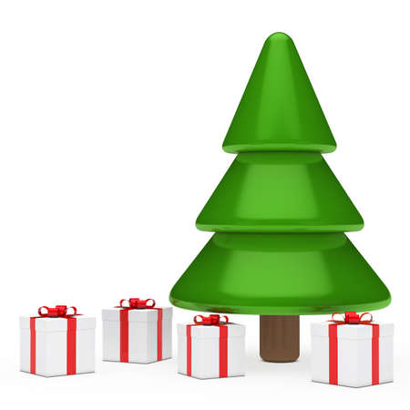 red white gift boxes under christmas tree  photo