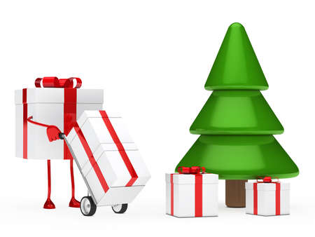 shove: christmas gift figure red push hand truck