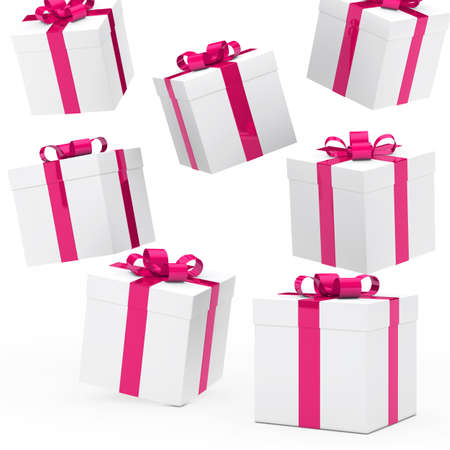gift wrapped: christmas gift boxes pink white falling down Stock Photo
