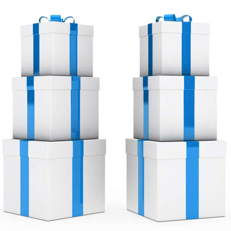 christmas gift boxes blue white stack tower photo