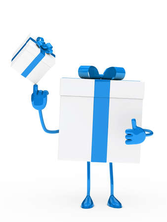 christmas gift box figure blue white balance Stock Photo - 13977426