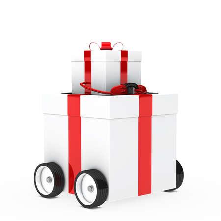 red white christmas gift box figure vehicle photo