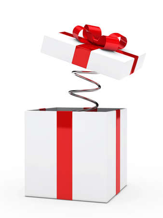 christmas red white gift box with ribbon photo