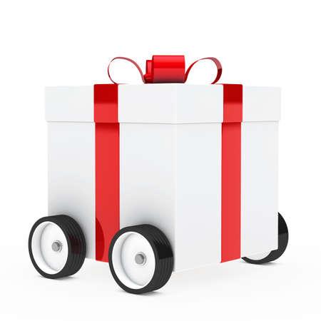 Navidad caja de regalo rojo, blanco, veh�culo de tracci�n Foto de archivo - 13977431