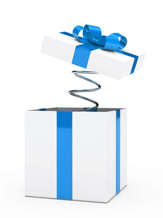 open gift: christmas blue white gift box with ribbon