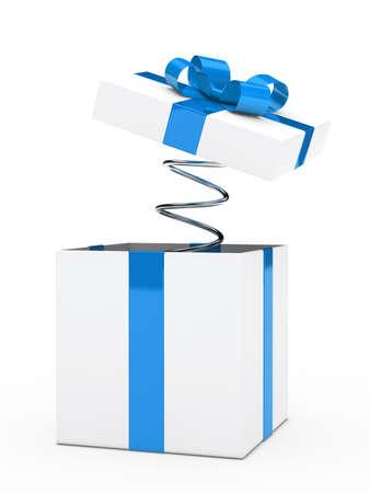 Kerst blauw witte geschenkdoos met lint Stockfoto - 14442959