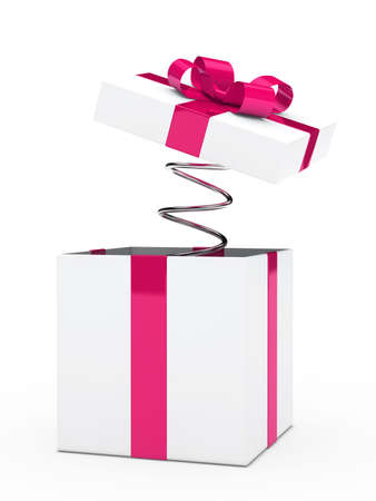 jack in a box: christmas pink white gift box with ribbon
