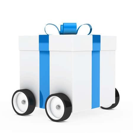 Navidad caja de regalo azul, blanco, veh�culo de tracci�n Foto de archivo - 14442960
