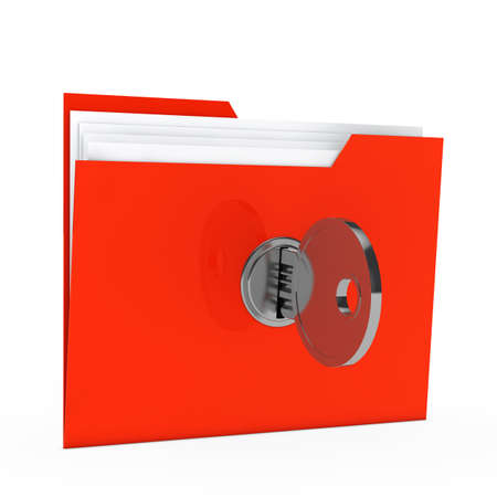 data protection: red data folder with paper key close Stock Photo