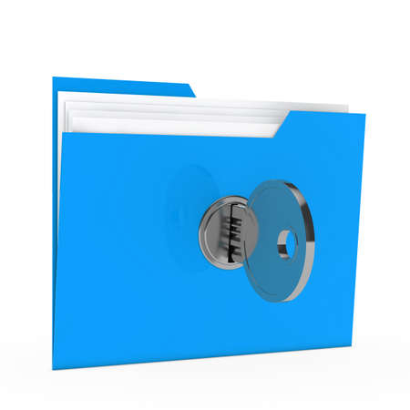 filing documents: blue data folder with paper key close Stock Photo
