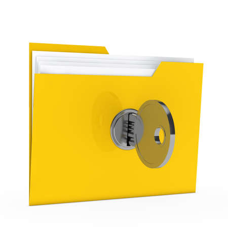 secret privacy: yellow data folder with paper key close