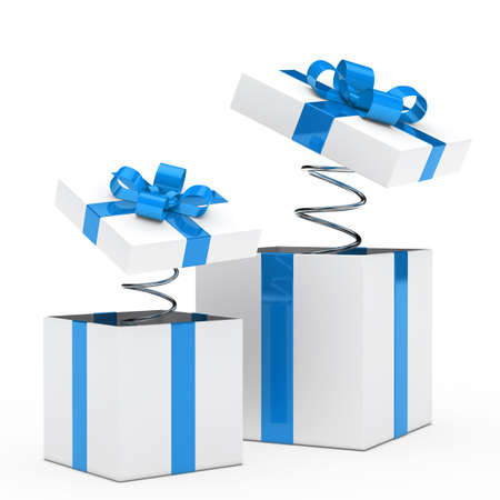 cajas navide�as: Navidad azul, blanco, caja de regalo con la cinta Foto de archivo
