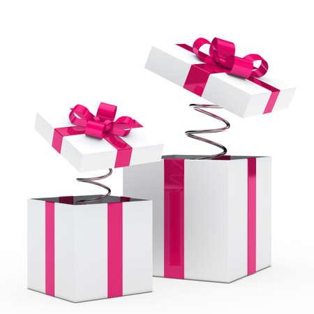 christmas pink white gift box with ribbon photo