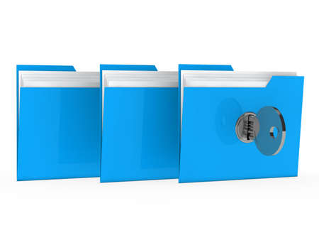 filing: blue data folder with paper key close Stock Photo