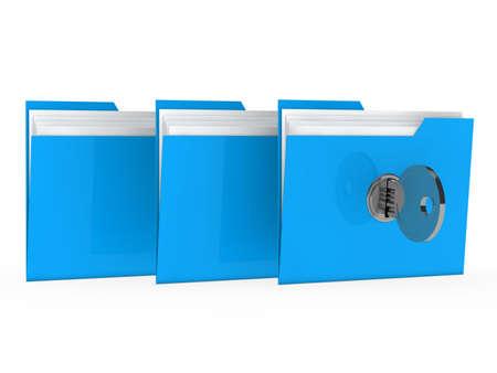 organise: blue data folder with paper key close Stock Photo