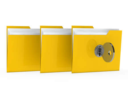 office theft: yellow data folder with paper key close