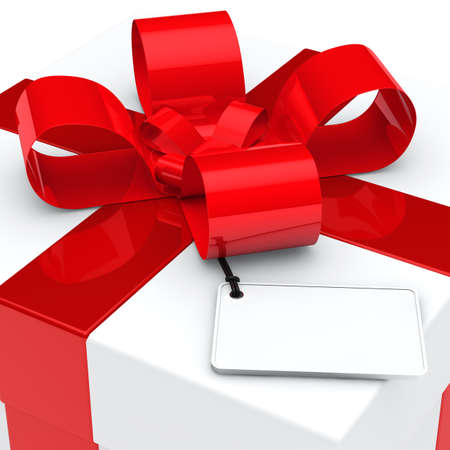 giving gift: christmas white gift box red ribbon signboard