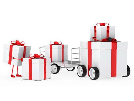christmas gift box red white vehicle drive photo