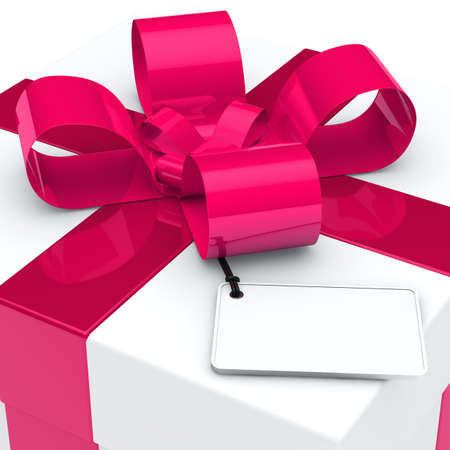 giving gift: christmas white gift box pink ribbon signboard