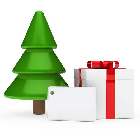 red white gift signboard under christmas tree photo