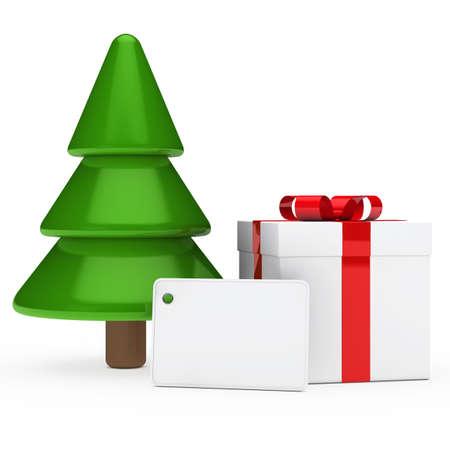 braun: red white gift signboard under christmas tree Stock Photo