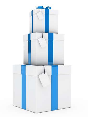 three gift boxes: tres cajas de regalo de navidad azul blanco pila