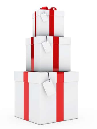 three gift boxes: tres cajas de regalo de navidad, rojo, blanco pila