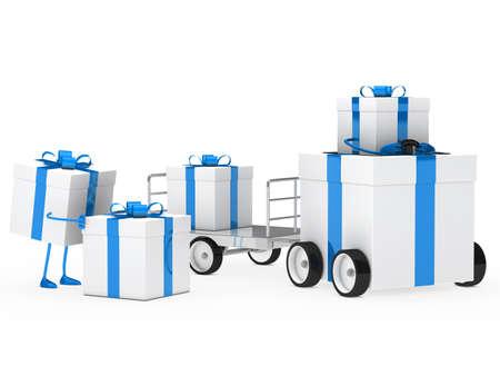 christmas gift box blue white vehicle drive photo