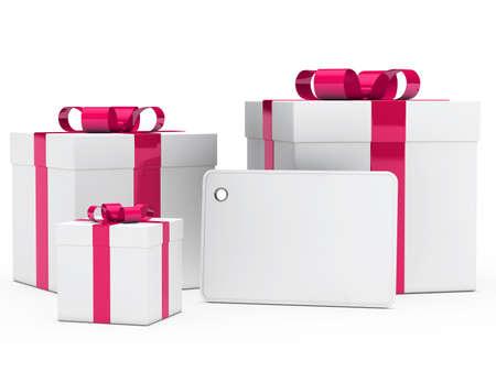 christmas gifts: christmas white gift box pink ribbon signboard