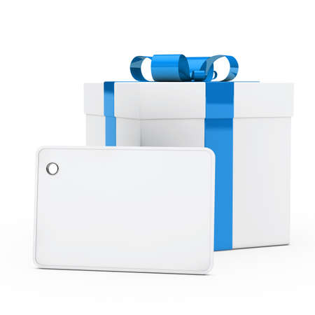 gift wrapped: christmas white gift box blue ribbon signboard