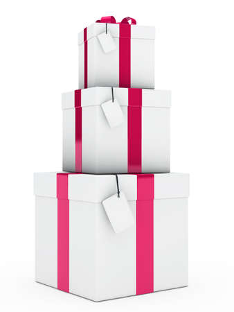 three gift boxes: christmas three gift boxes pink white stack