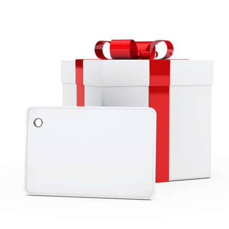christmas white gift box red ribbon signboard photo