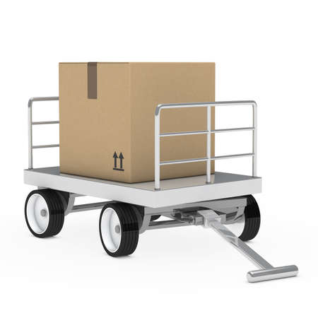 distribute: transport brown package trolley and hand truck