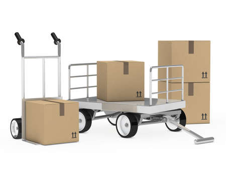 transport brown package trolley and hand truck photo