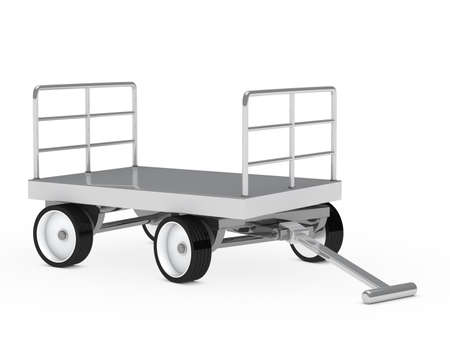 hand truck: warehouse package chrome trolley on white background Stock Photo