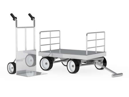 handtruck: transport package chrome hand truck and trolley