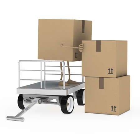 hand truck: brown package figure offload a transport trolley