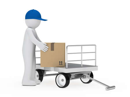 pick up: figure pick up a package from trolley