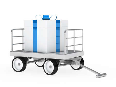 blank box: big christmas gift blue white on trolley