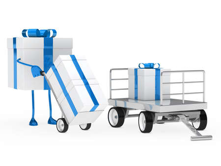 blue white gift figure pull hand truck  photo