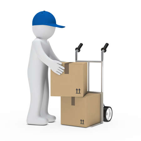 figure load a package on hand truck Stock Photo - 14809289